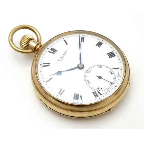 563 - A 9ct gold JW Benson open face pocket watch with white enamel dial, Roman numerals and inset seconds...