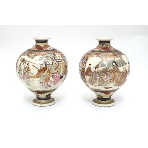 19 - A pair of Japanese Satsuma vases of globular form in the Kutani style with flared rims and feet. The...