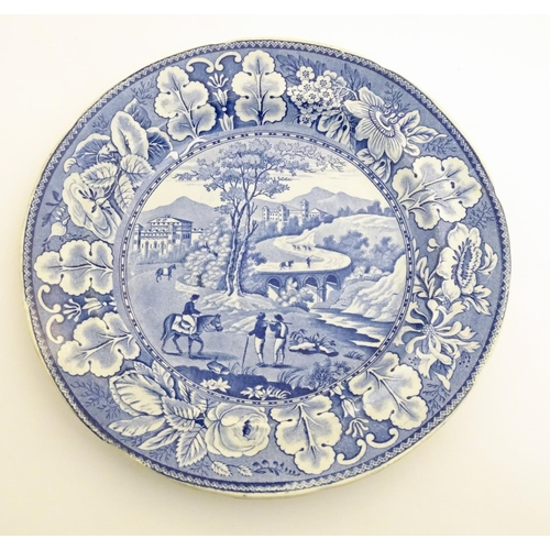 60 - Two blue and white plates, to include The Gleaners and a landscape scene with figures and horses. Ap...
