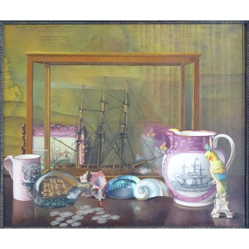 1567 - John Ernest Foster (1877–1968), Oil on canvas, A still life study with items of shipping interest to...