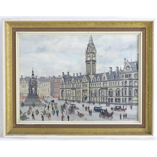 1588 - Edward Lake, XX, Oil on board, Albert Square, Manchester with figures. Signed lower right. Approx. 1...