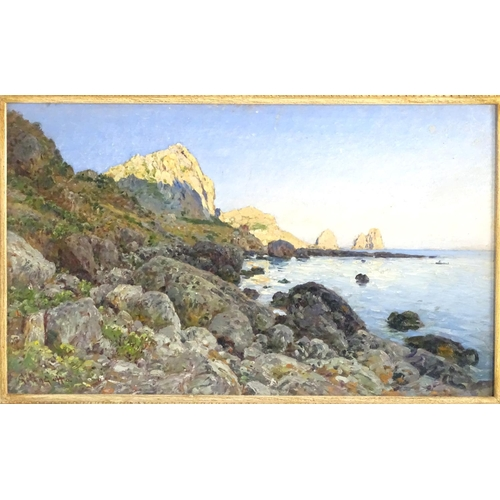 1589 - Otto Geleng (1843-1939), Oil on board, Capri and Amalfi with the Faraglioni rock formation. Signed l...
