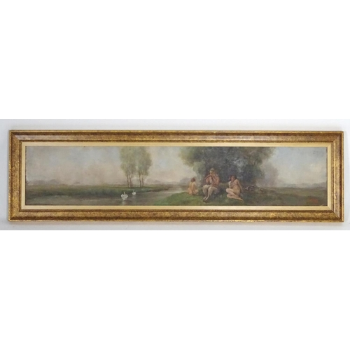 1590 - O. Lamont, XX, Oil on board, A mythological pastoral landscape with Pan and nymphs resting by a rive...