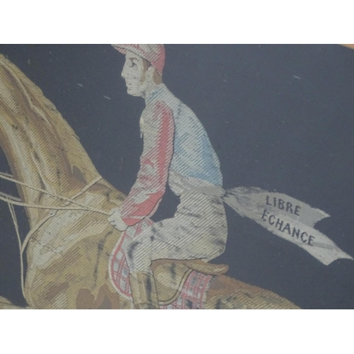 1769 - A French silkwork embroidery depicting a portrait of a racehorse and jockey, titled to banner Libert...