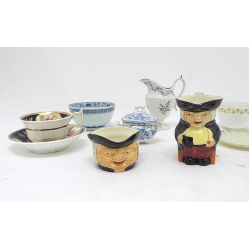 154 - A quantity of assorted ceramics, to include a Chinese blue and white rice bowl, a Chinese blue and w...