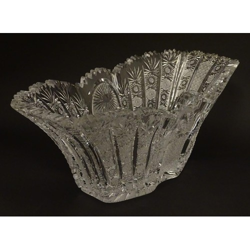 194 - An early 20thC cut glass / crystal table centre piece / fruit bowl 13 1/2'' long .