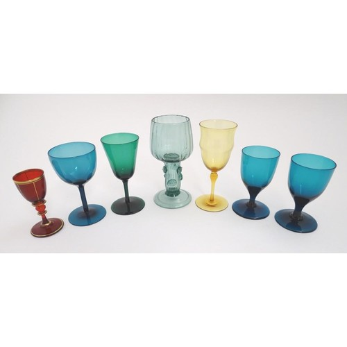 201 - Assorted 19th and 20thC glassware to include various pedestal glasses, including one by Powell / Whi...
