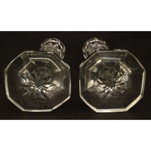 229 - Two early 20thC cut glass candlesticks 6 3/4