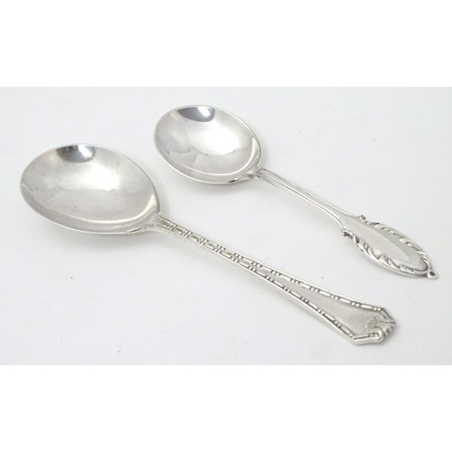 235 - Two silver jam / preserve spoons one hallmarked London 1928 maker Deakin & Francis, the other Birmin...