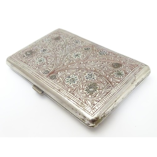 424 - A white metal cigarette case, the eastern/ Islamic style decoration having red and green enamel styl...