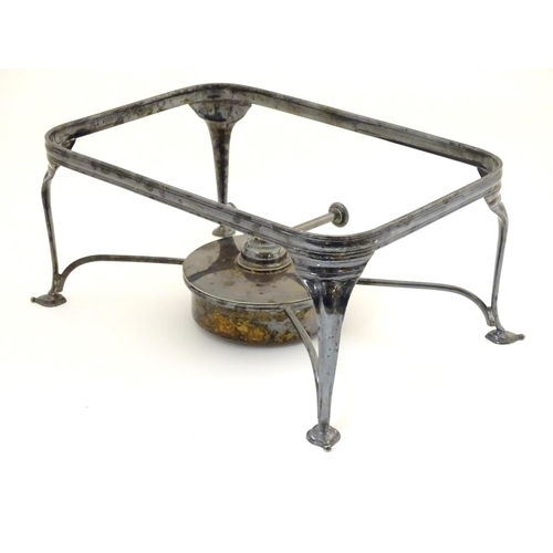 491 - A silver plate entre dish stand / chafer dish stand with burner to base. 9 3/4