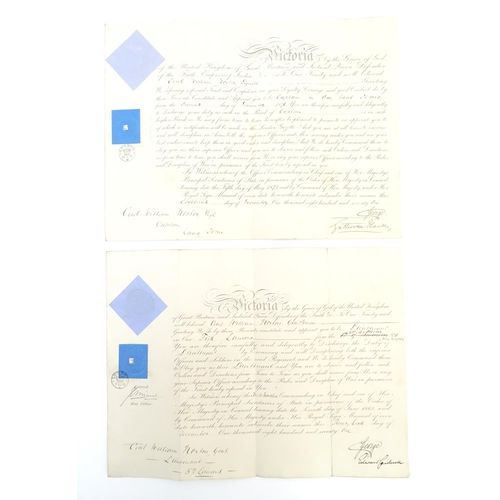 669 - Militaria : two 19thC British Army Officer's commission certificates, dated 28th October 1871 and 16...