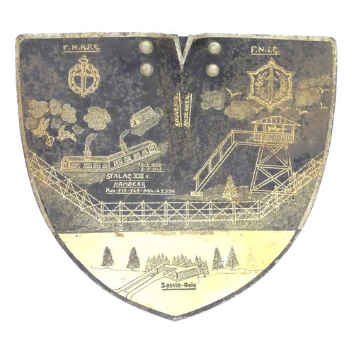 680 - Militaria, Second World War / World War II / WW2: A decorated shovel blade, painted with the emblems...