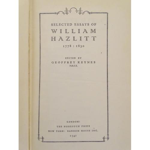 710 - Books: The Nonesuch Library, five volumes: William Morris (1934), Swift (1942), Milton (1941), Willi...