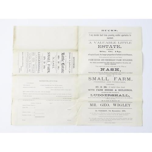 810 - Buckinghamshire local interest : a Victorian auction brochure, A valuable little estate comprising 4...