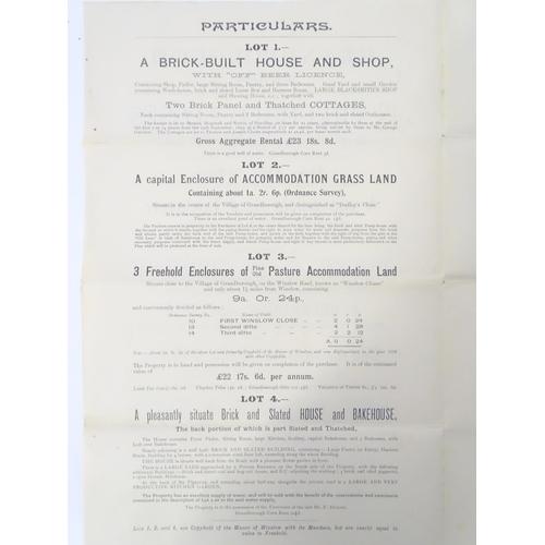811 - Buckinghamshire local interest : an early 20thC auction brochure, Grandborough (Granborough), 3 free...