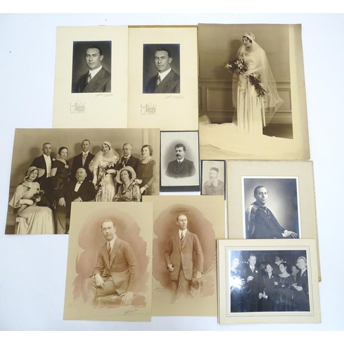 822 - A collection of early black and white photographic portraits, by Ciolina, Fall, Scheider, Wasserman,...