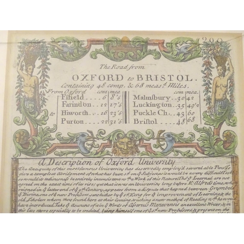 850 - Map: An 18thC double glazed hand coloured road strip map of the City of Oxford, with the Road from O...