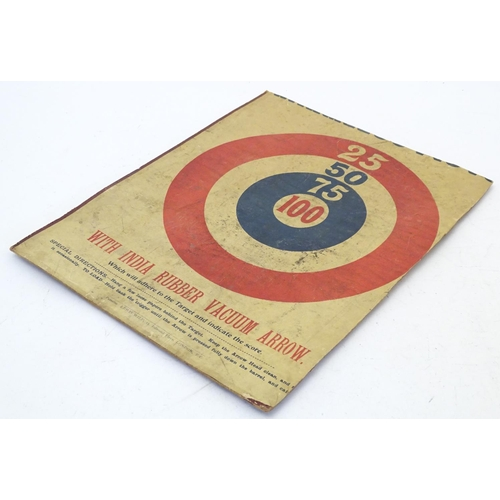 866 - Toy: An early 20thC card target board for harmless pistols and rifles with rubber tipped vacuum arro...