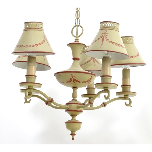 896 - A mid - late 20thC pendant 5 branch light /  electrolier with shades decorated in the tole paint sty...