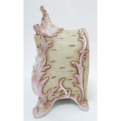 920 - American Pink Porcelain mantel clock: A W Gilbert Clock Co, Conn sprung 8-day movement (striking on ...