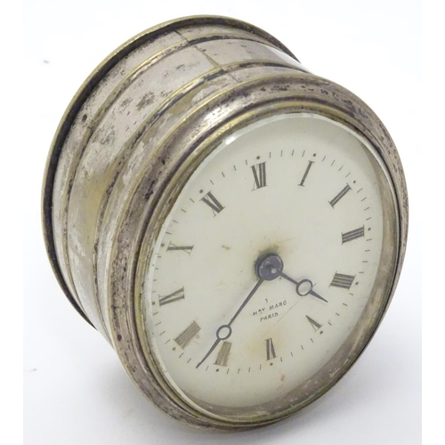 926 - A silver plate cased clock / timepiece , the enamel dial marked Hry Marc Paris.  Approx 3 1/2