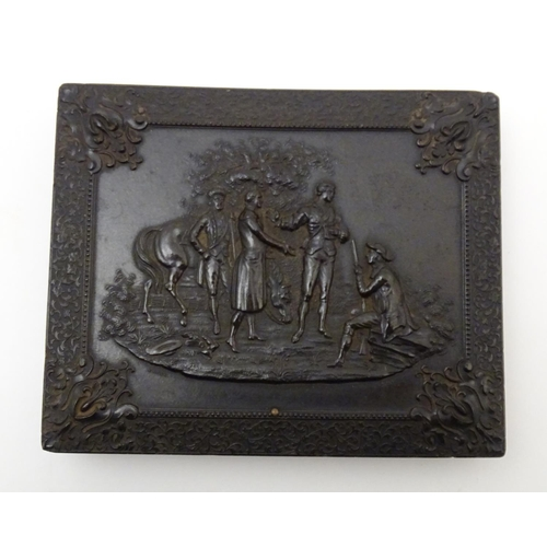 978 - A Victorian Union Case daguerreotype / ambrotype hinged photograph case, with relief decoration depi...