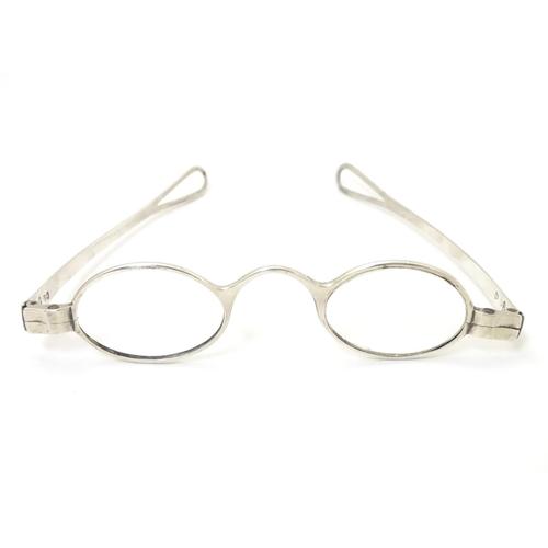 264 - Geo III silver spectacles / glasses hallmarked London 1804 maker Samuel Pemberton . Cased. The case ...