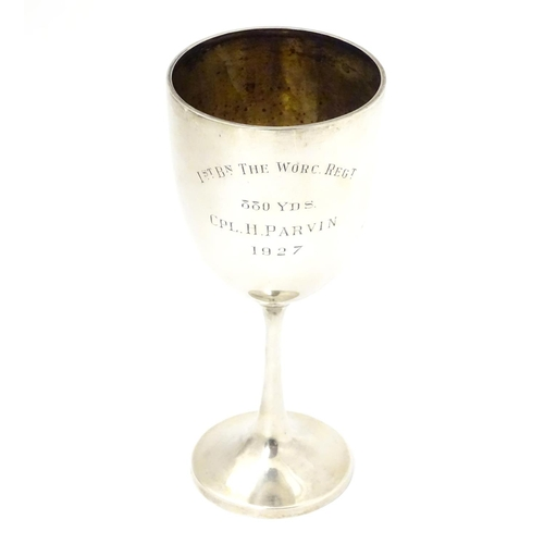 267 - A silver trophy cup with an inscription relating to Cpl. H. Parvin of 1st Batallion The Worcester Re...