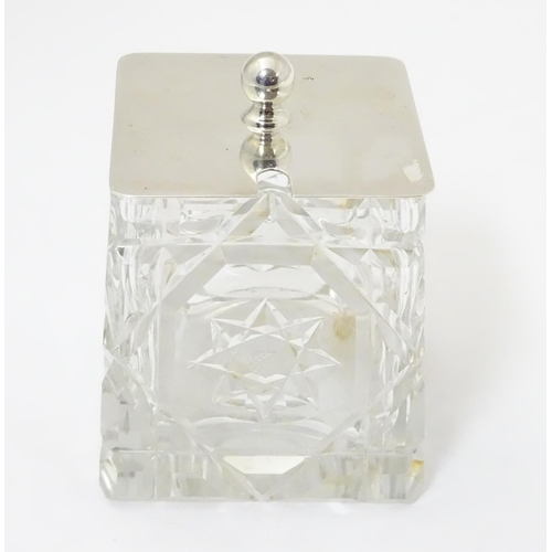271 - A cut glass jam / preserve pot with silver lid hallmarked Birmingham 1930 maker G Unite & Sons & Lyd...