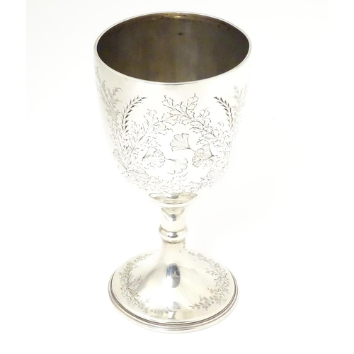 274 - A silver trophy cup of goblet / chalice form. Hallmarked Sheffield 1897 maker Jenkins & Timm.   7 3/...