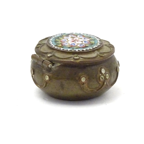 1102 - A 19thC pill box / small circular trinket pot, the lid with floral micro mosaic detail, the body wit...