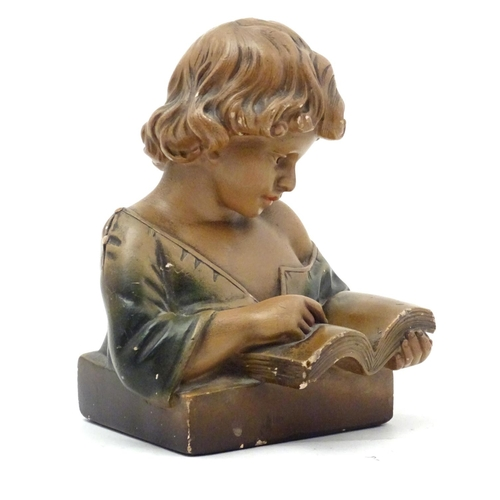 1112 - A 20thC French plaster figure with polychrome decoration modelled as a young girl reading. Stamped 3...
