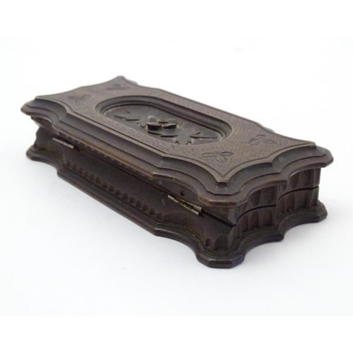 1134 - A late 19th / early 20thC Continental wooden stamp box with carved floral and foliate detail, with p...