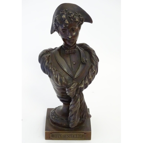 1153 - A cast metal sculpture after Sylvain Kinsburger (1855-1935), depicting a bust modelled as a lady. Ca...