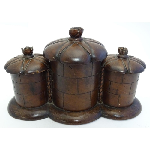1155 - An unusual late 19th / early 20thC treen three- sectional box, possibly a caddy, the cylindrical sec...