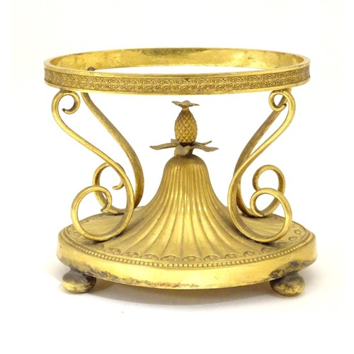 1210 - An early 20thC Elkington & Co. gilt metal oval centrepiece stand with scrolling decoration and centr...