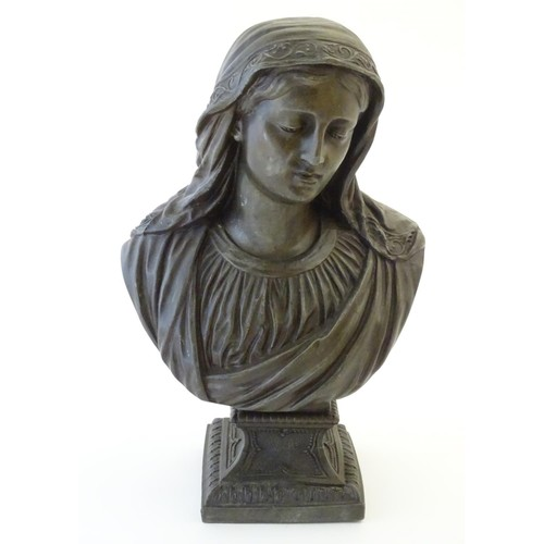 1236 - A 20thC cast metal bust of the Virgin Mary, Our Lady of Sorrows, raised on a square, flared socle ba...