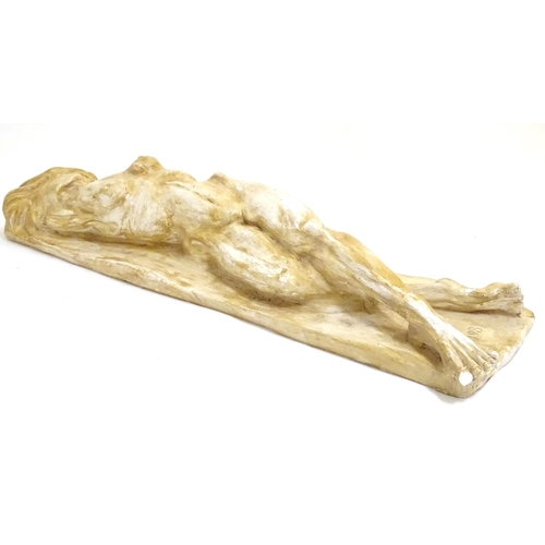 1296 - A 20thC plaster sculpture modelled as a nude woman, signed in initials by the artist Kate Dixon and ...