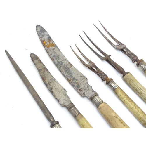 1337 - Six Victorian antler handled carving forks & knives, five having silver collars, hallmarked Sheffiel...