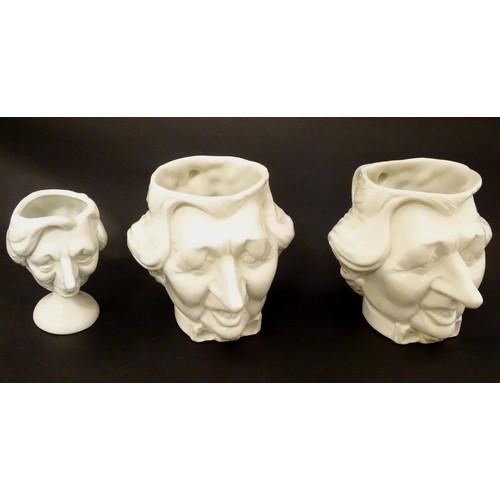 1341 - Luck and Flaw , a Margaret Thatcher White ceramic tea set comprising of a tea pot , pedestal egg cup...