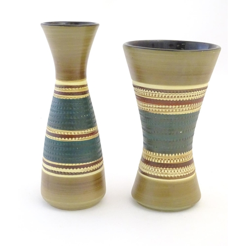 114 - Two West German vases designed by Dumler & Breiden with banded detail. Marked under. Largest approx....