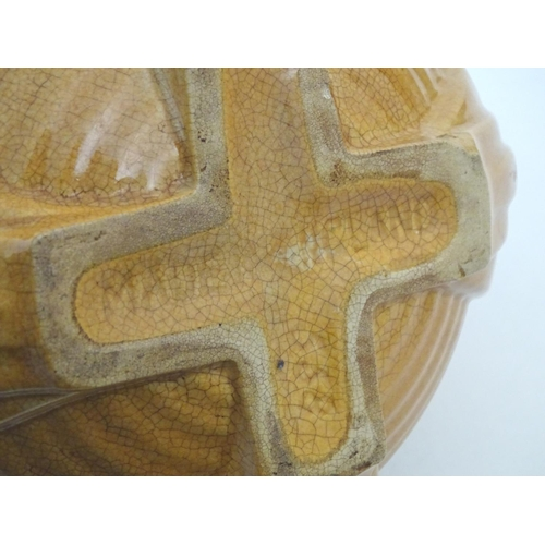 123 - An Art Deco globular vase with ribbed decoration. Approx. 7