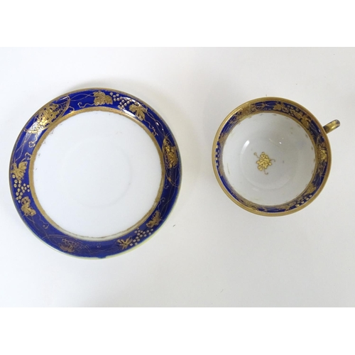 184 - A quantity of assorted cups and saucers, to include Wedgwood Etruria in The Tyne pattern, a New Hall...