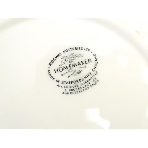 185 - Vintage / Retro : Six Homemaker dinner plates by Ridgway Potteries Ltd designed by Enid Seeney. Mark...