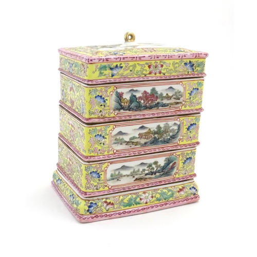 32 - A Chinese famille jaune food container of rectangular form with five tiers with scrolling floral and...