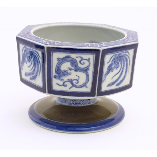 39 - A Chinese blue and white octagonal pedestal bowl with panelled phoenix and dragon decoration. The ce...