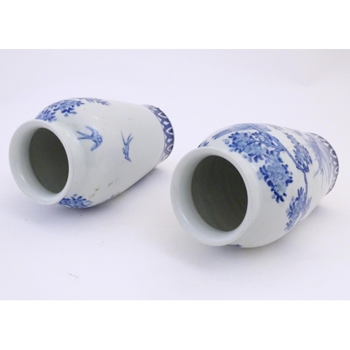 58 - Two Chinese blue and white vases decorated with landscape scene with birds and trees. Approx. 9 3/4