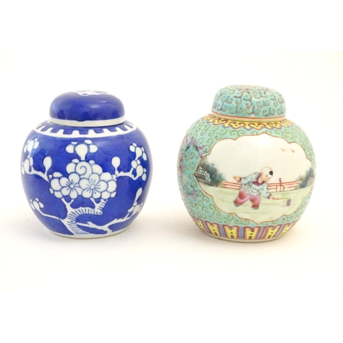 66 - Three assorted Chinese ginger jars, comprising a famille verte example with figural decoration, one ...