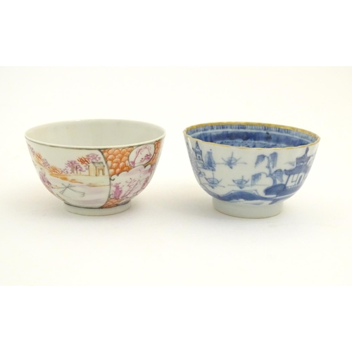 70 - Five assorted Oriental items, comprising two Japanese blue and white plates with scalloped edges, de...